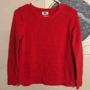 Chevron knit pullover sweater
